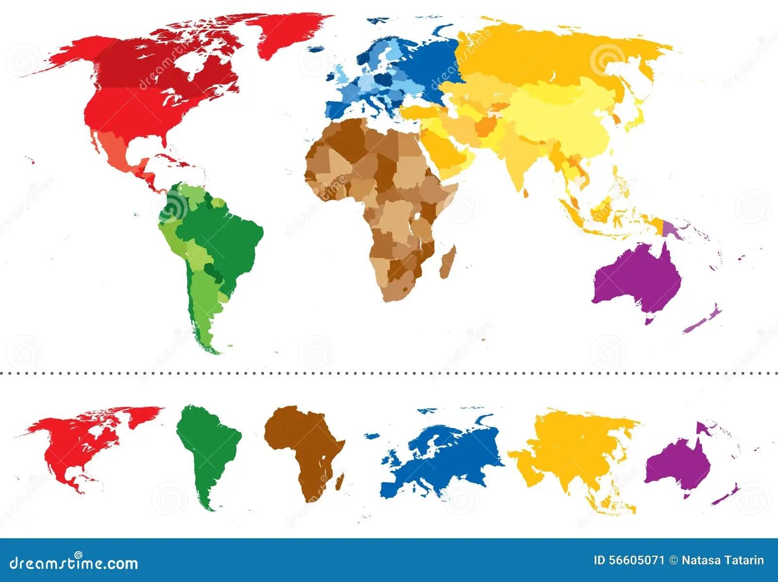 Weltkartekontinente Mehrfarbig Vektor Abbildung