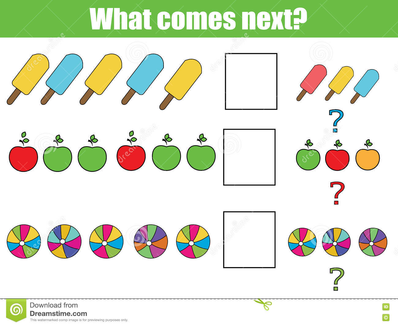 What Comes Next Educational Children Game Kids Activity