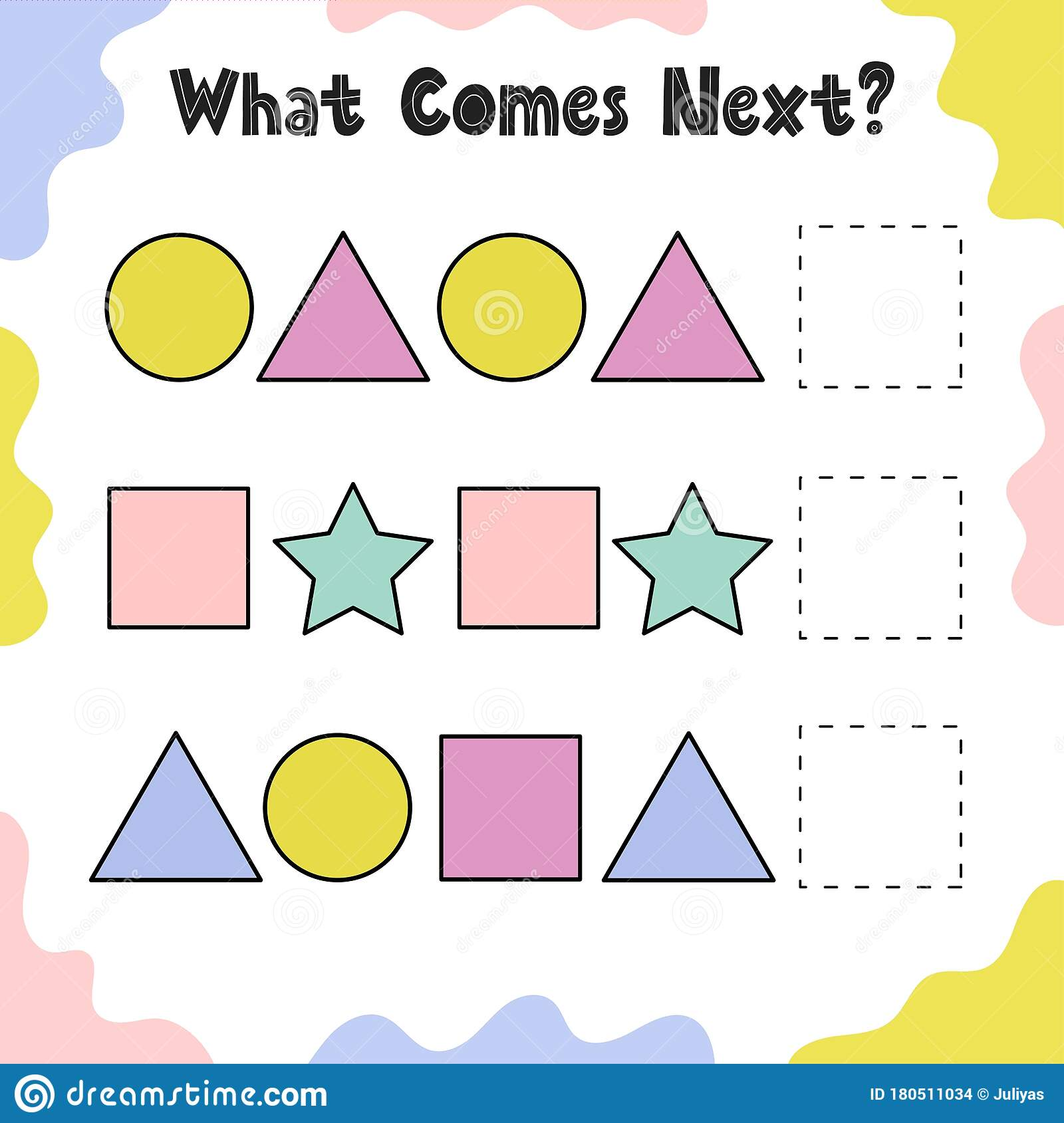 What Comes Next Puzzle For Kids Continue The Geometric