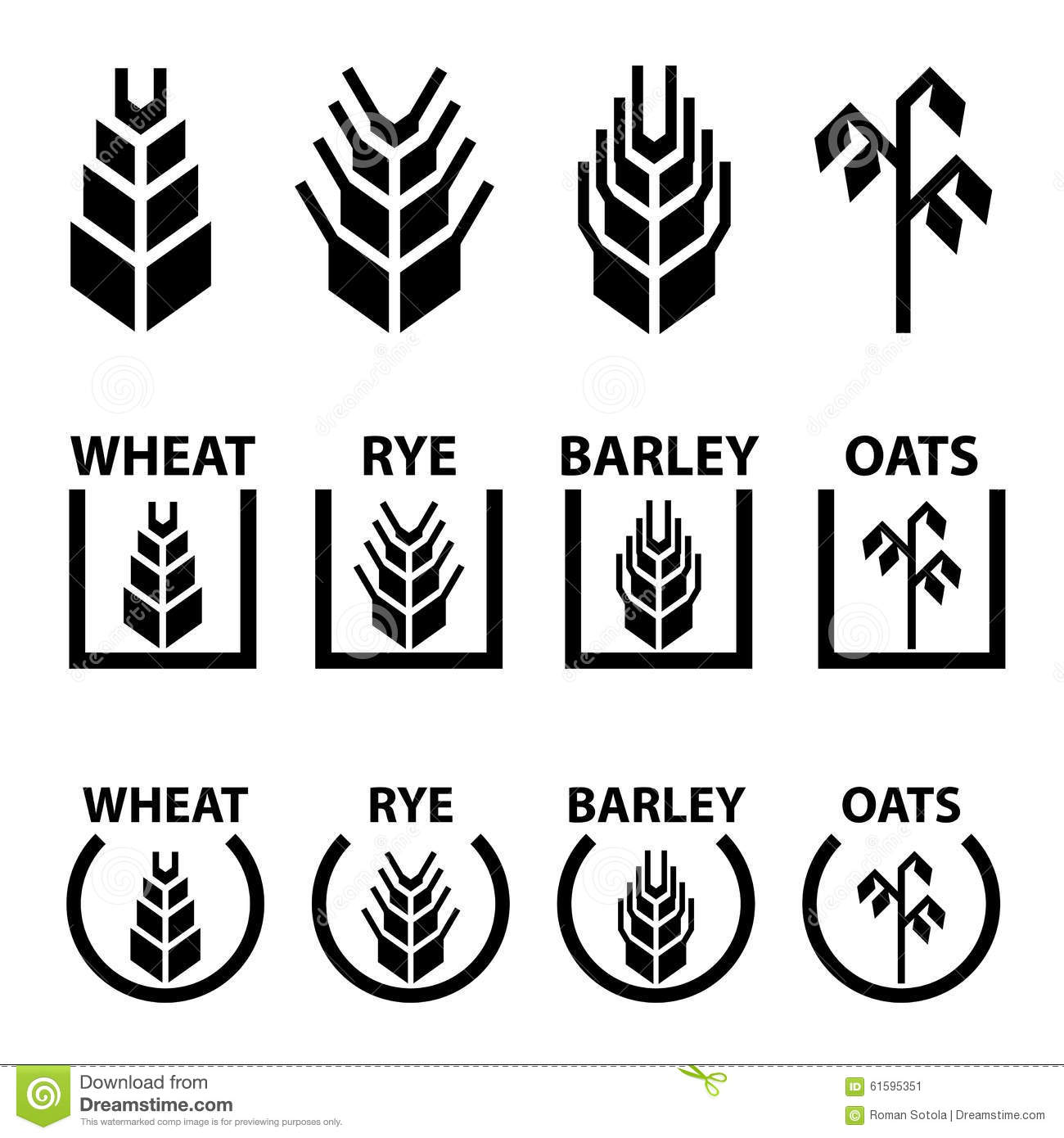 Wheat Rye Barley Oat Cereal Spike Ears Symbols Stock