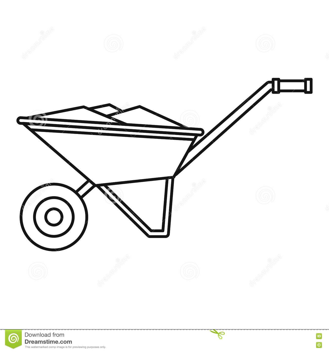Wheelbarrow Icon Outline Style Stock Vector