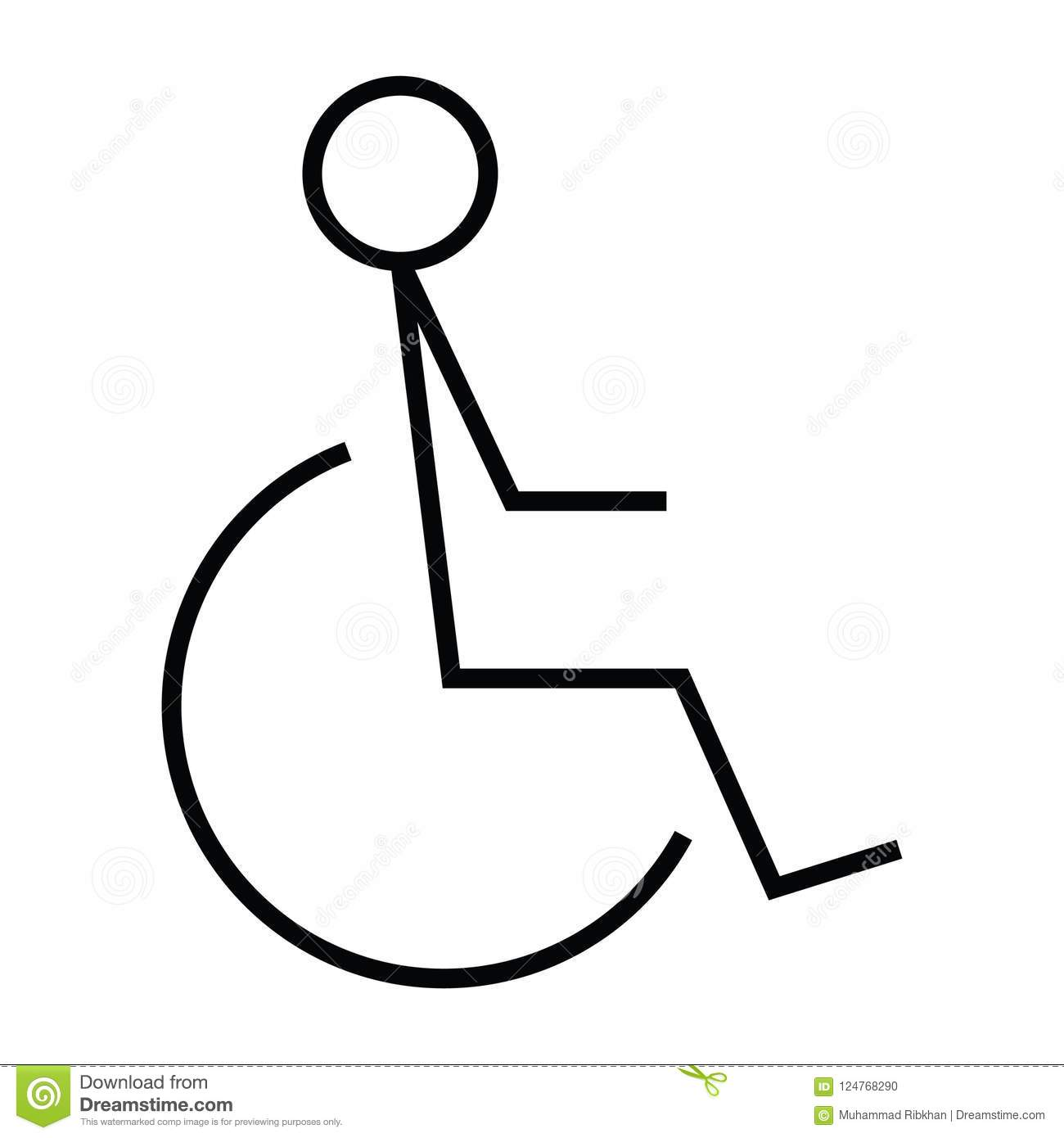 Wheelchair Disabled People Icon With Outline And Line