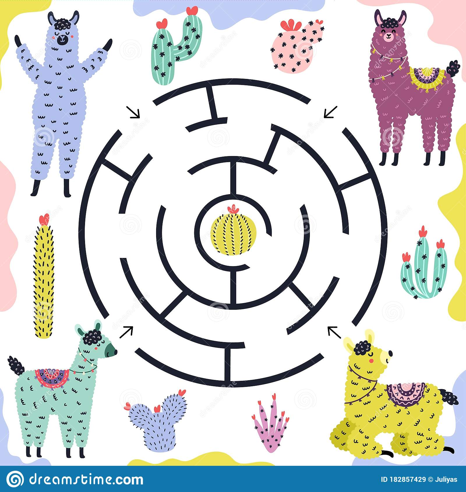 Which Llama Gets To The Cactus Funny Maze Game For Kids