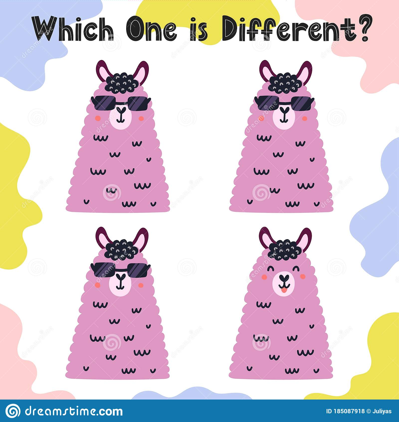 Which One Is Different Activity Page For Kids With Funny