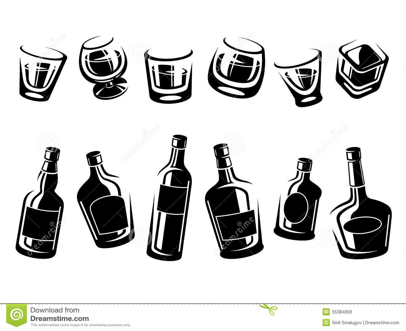Whiskyflaschen Und Glassatz Vektor Vektor Abbildung