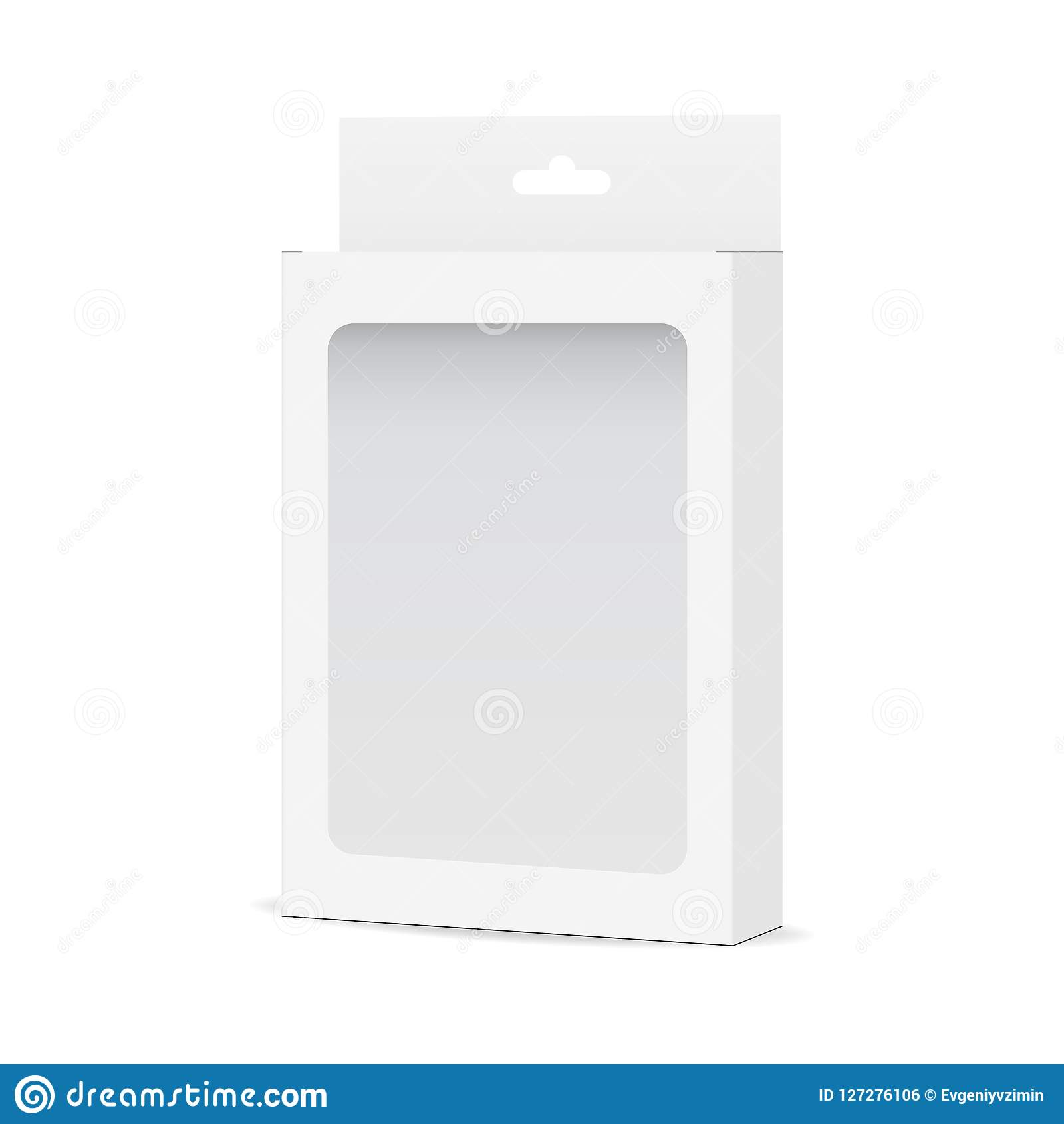 White Blank Box Mock Up With Transparent Window And