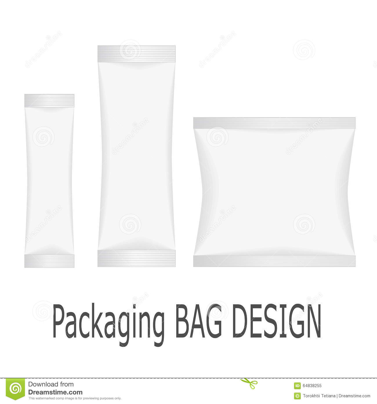 Blank White Plastic Stick Pack For Coffee Sugar Vector