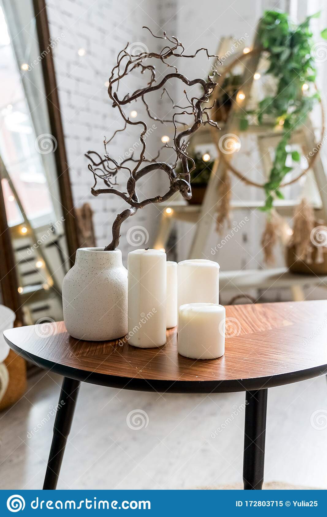 https www dreamstime com white candles wooden coffee table cozy living room interior stylish scandinavian candle plant vase image172803715