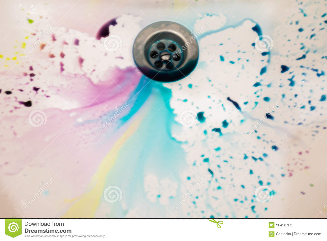 in white ceramic sink poured a lot of different colors to paint eggs for easter beautiful background and almost a rainbow stock image image of desktop lilac 90458703