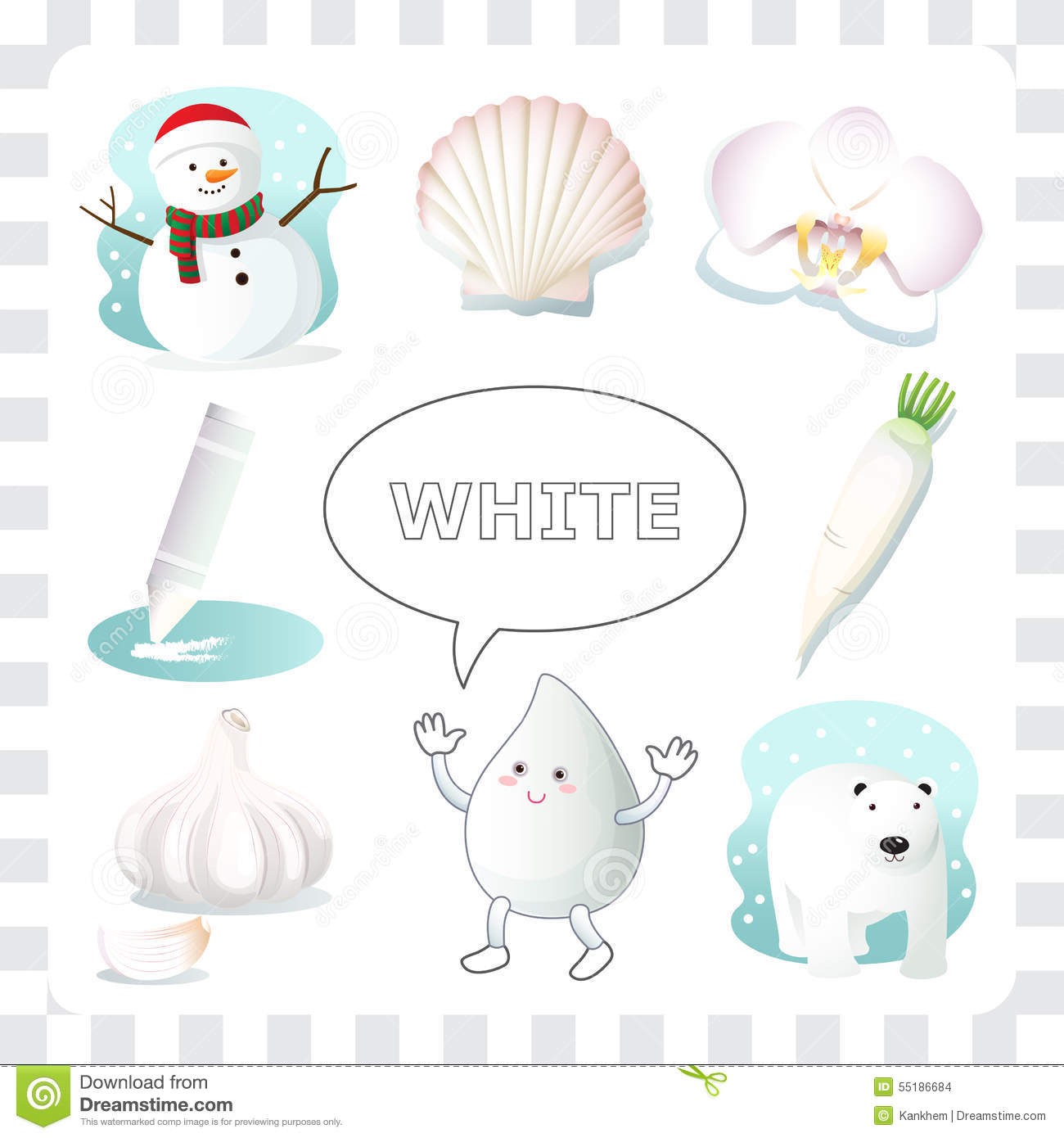 White Color Stock Vector Illustration Of Child Seashell