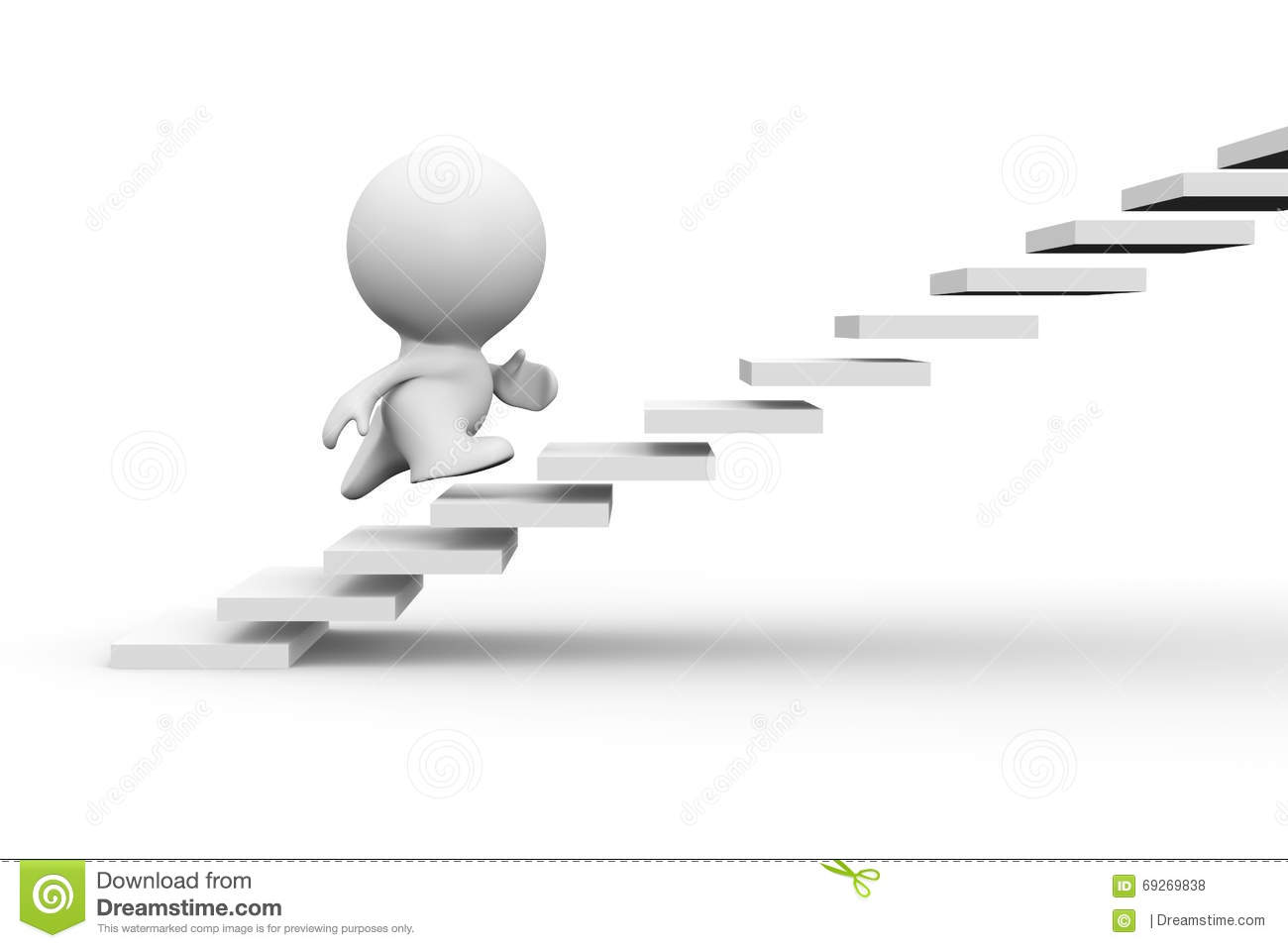 White 3d Human Character Running Up On Stairs Stock