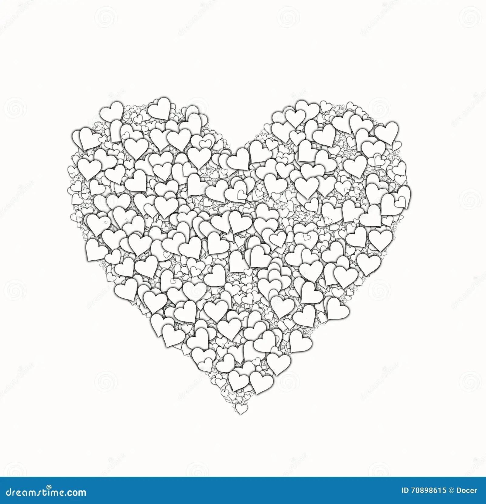 White Heart Shape From Small Many Hearts Love Symbol