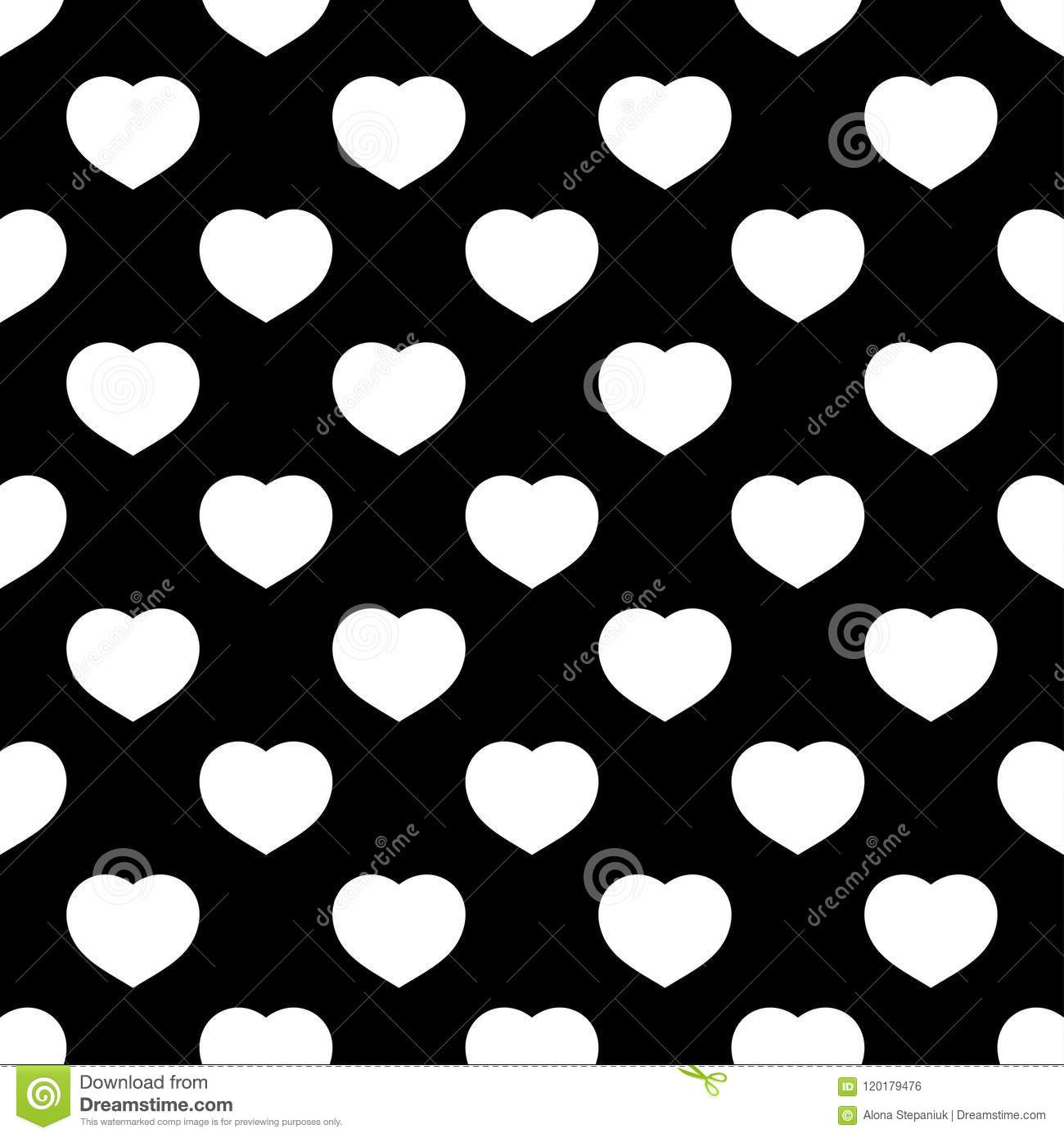 White Hearts Seamless Pattern On Black Background Stock Vector Illustration Of Pattern Background 120179476