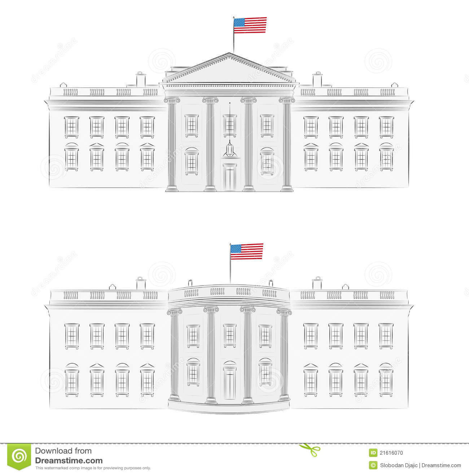White House Detailed Vector Illustration Stock Vector