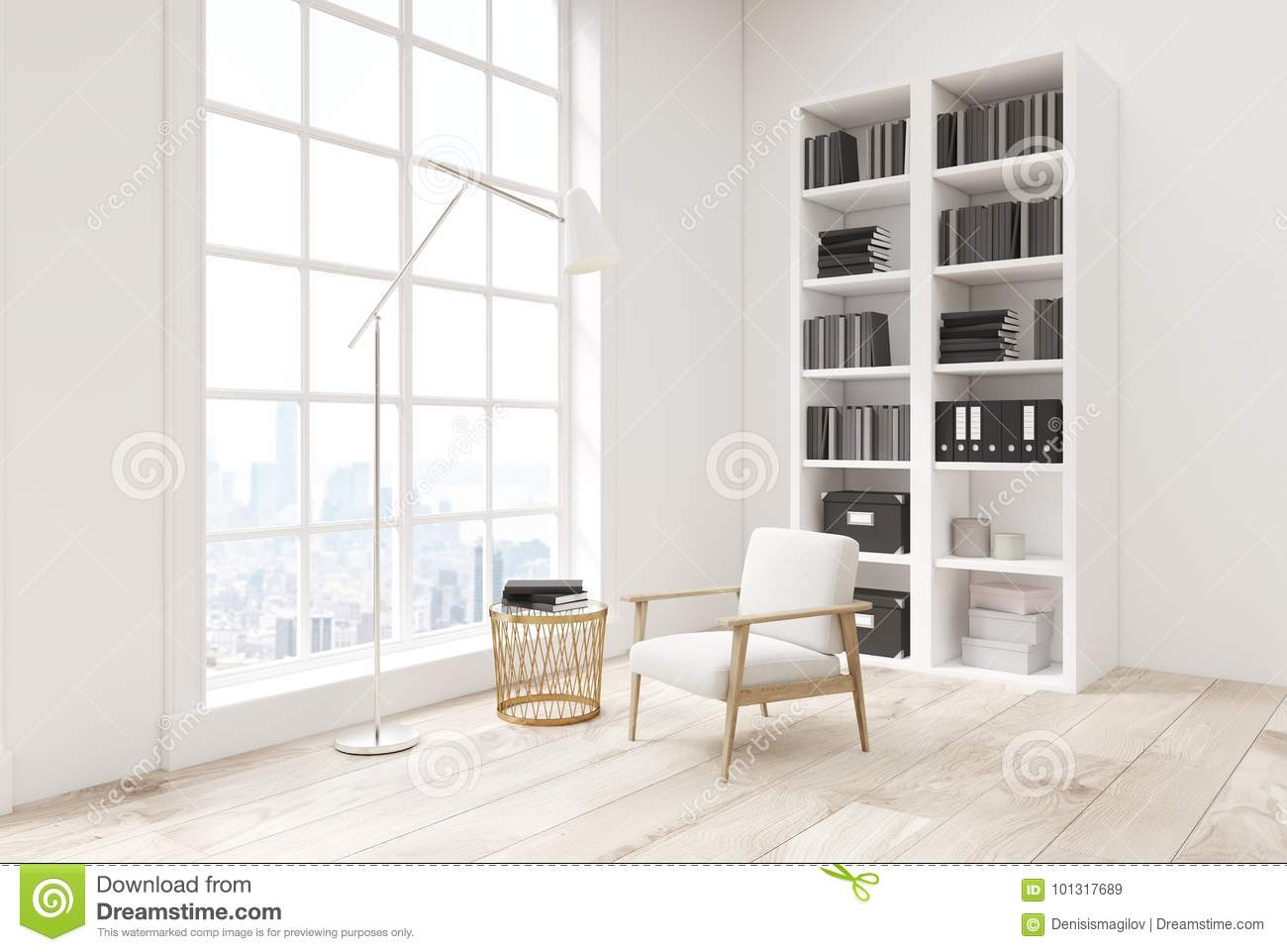 White Living Room With A Bookcase Side View Stock