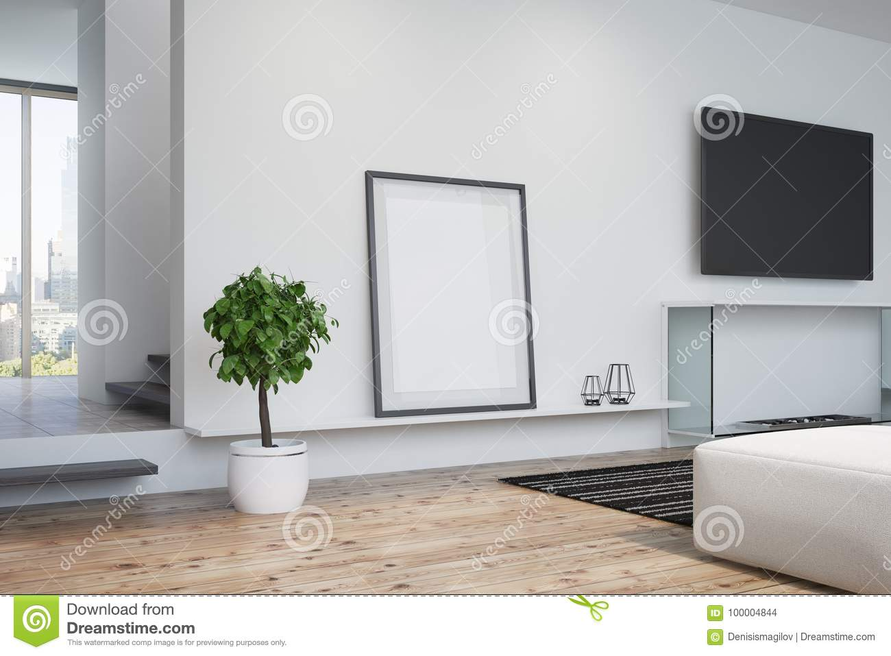 White Living Room Tv And Poster Side Stock Illustration Illustration Of Black Banner 100004844