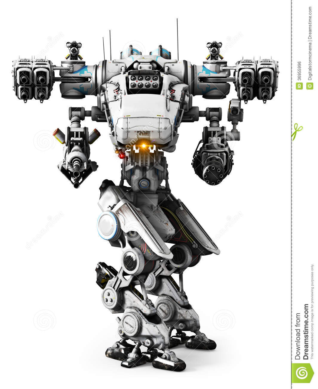 White Mech Weapon With Full Array Of Guns Pointed Royalty