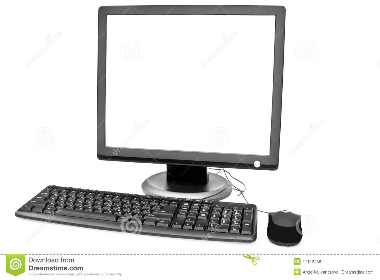 White Monitor Keyboard And Mouse Royalty Free Stock