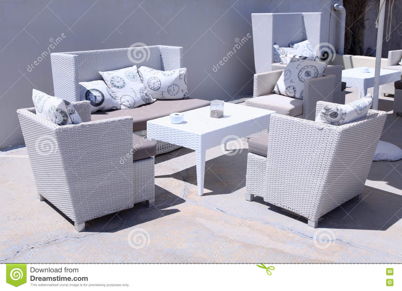 white outdoor furniture rattan armchairs stock image image of hotel balcony 78314021