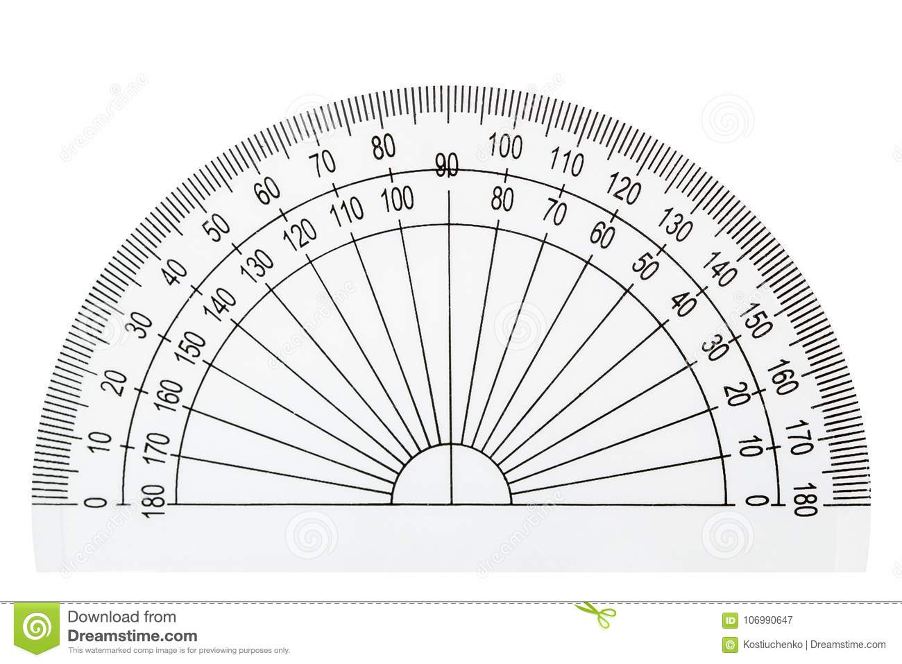 White Plastic Transparent Protractor Isolated On White