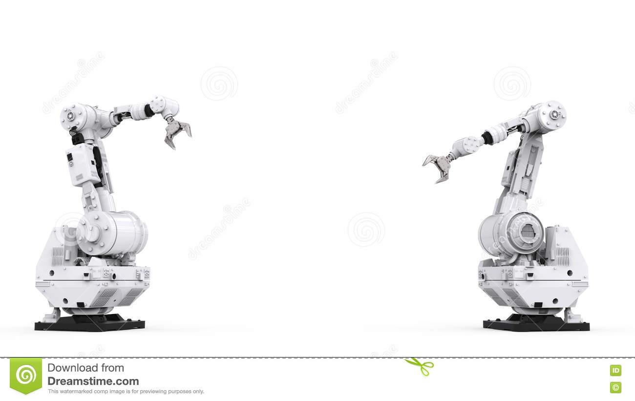White Robotic Arm With Blank Space Stock Photo