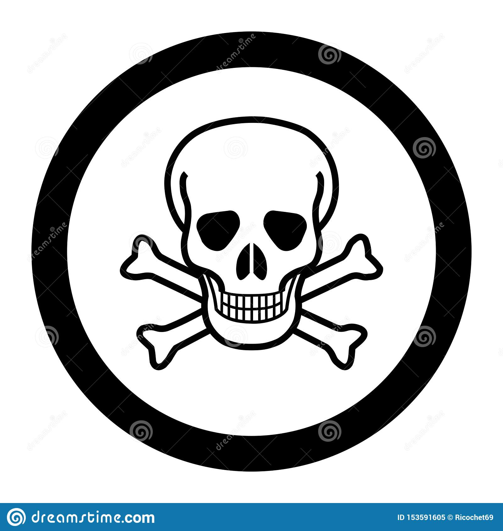 White Skull And Crossbones In A Circle Stock Illustration Illustration Of Black Shape 153591605