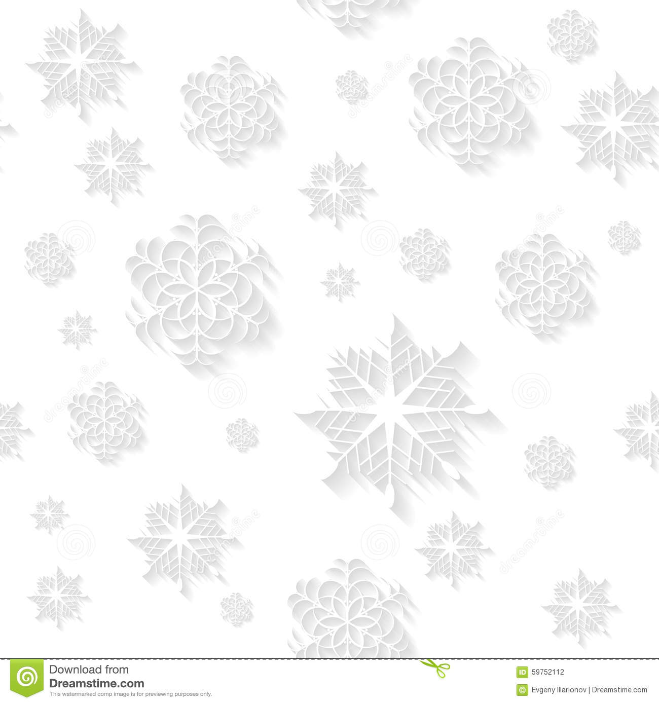Vector Of Snowflakes White Background Seamless Vector