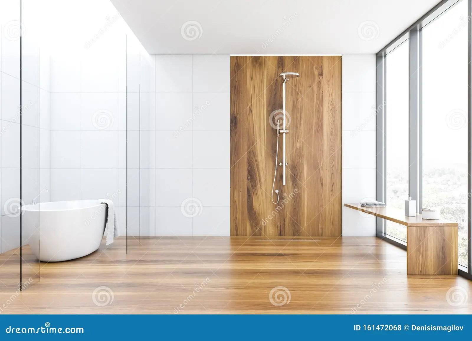 https www dreamstime com white tile wood bathroom tub shower interior comfortable glass walls wooden floor bathtub towel hanging vertical image161472068
