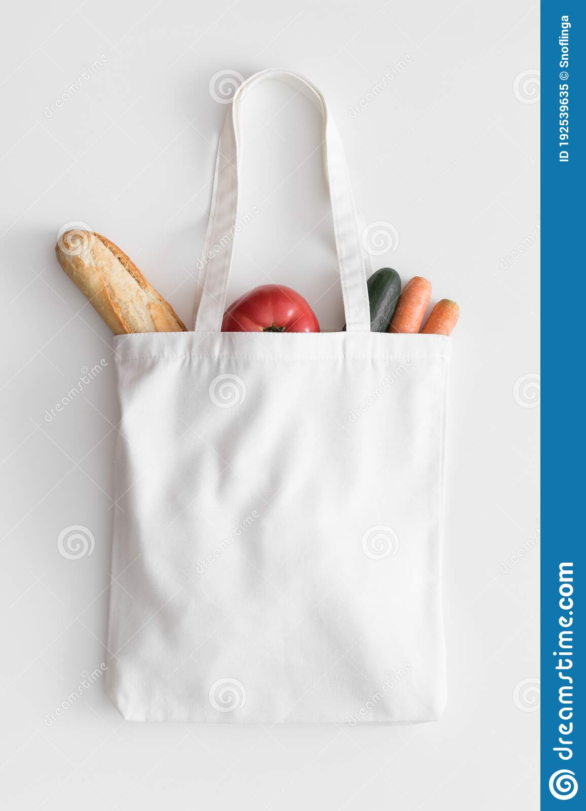 White shopping bag with handles. White Tote Bag Mockup With Groceries On A White Table Stock Image Image Of Blank Template 192539635