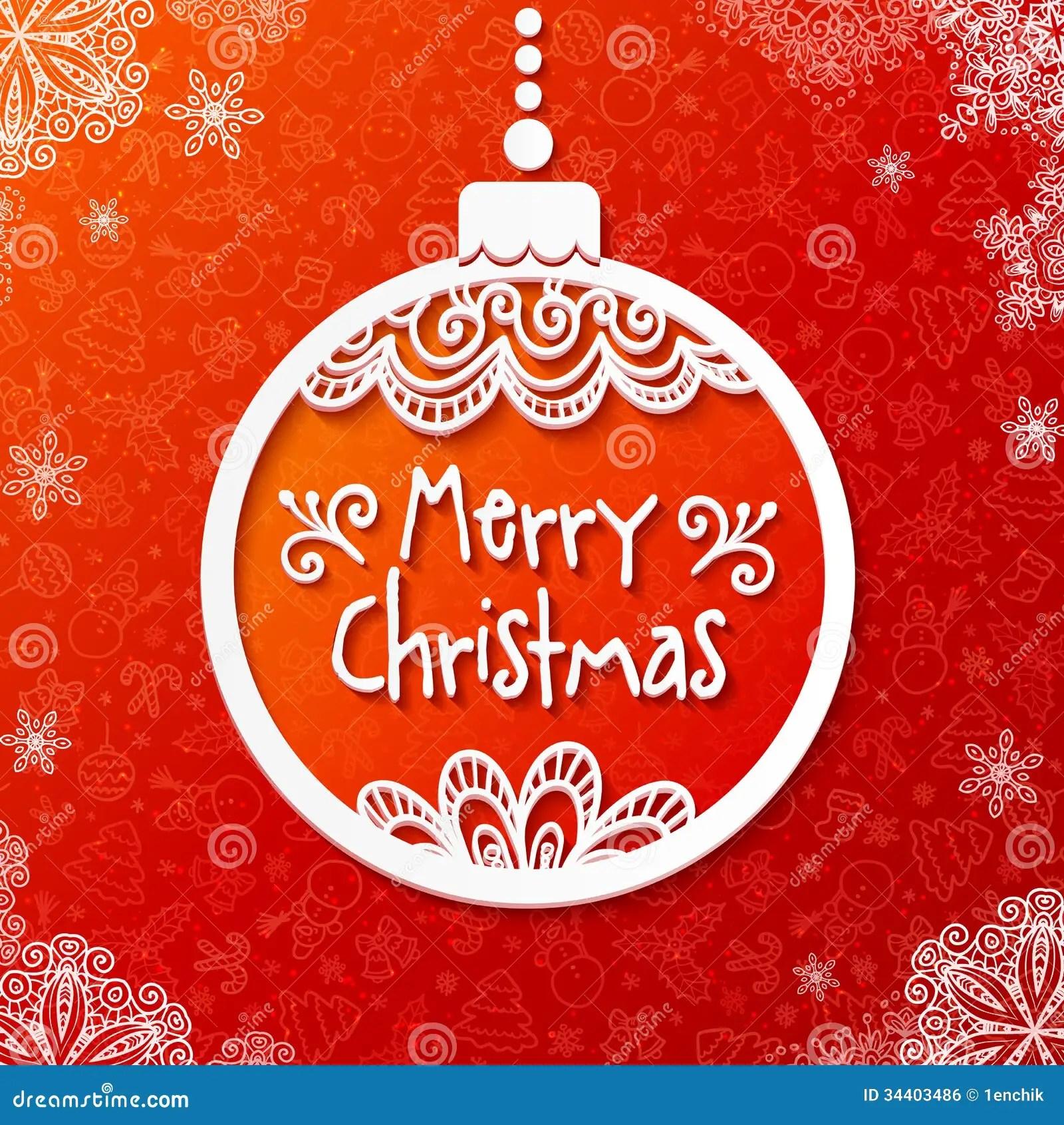 White Vector Paper Ornate Christmas Ball Royalty Free