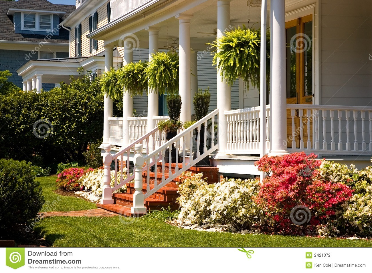 White Victorian Porch Stock Photo Image Of Neighboring