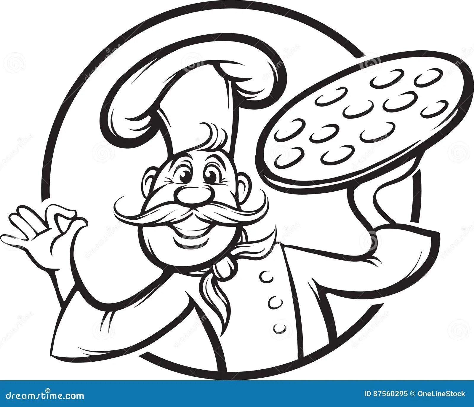 Italian Chef Coloring Book Cartoon Vector