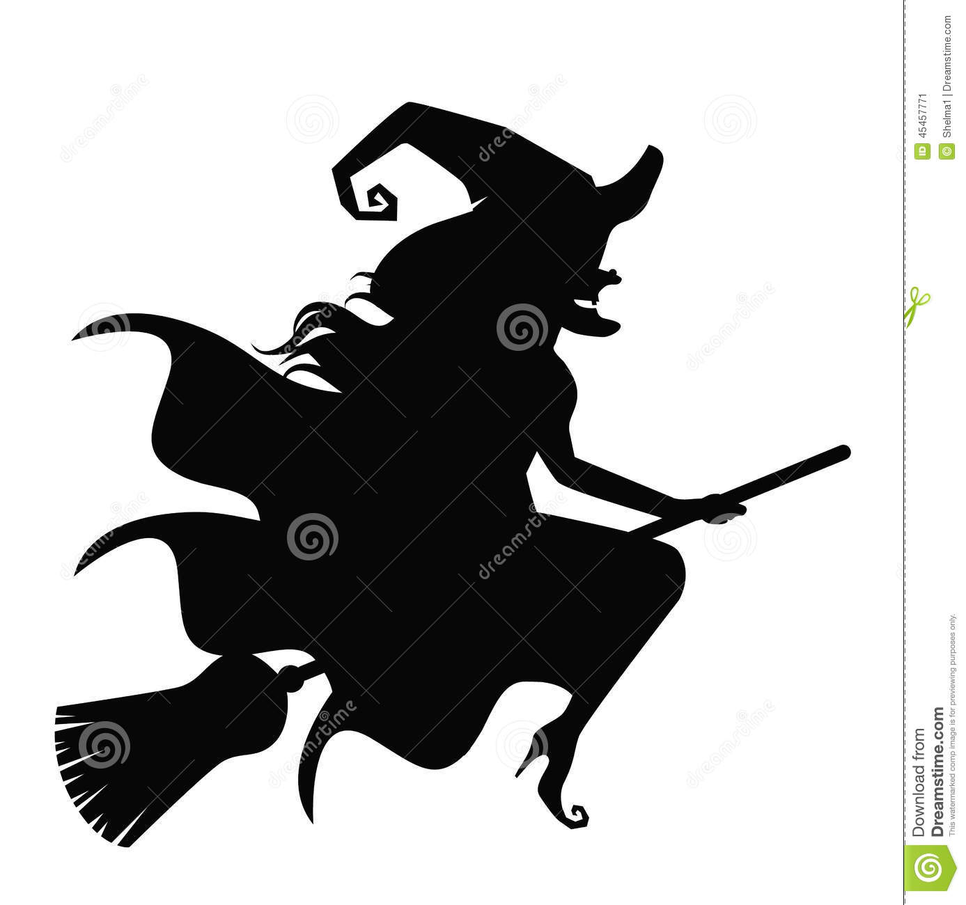 Wicked Witch Silhouette Isolated On White Stock Vector
