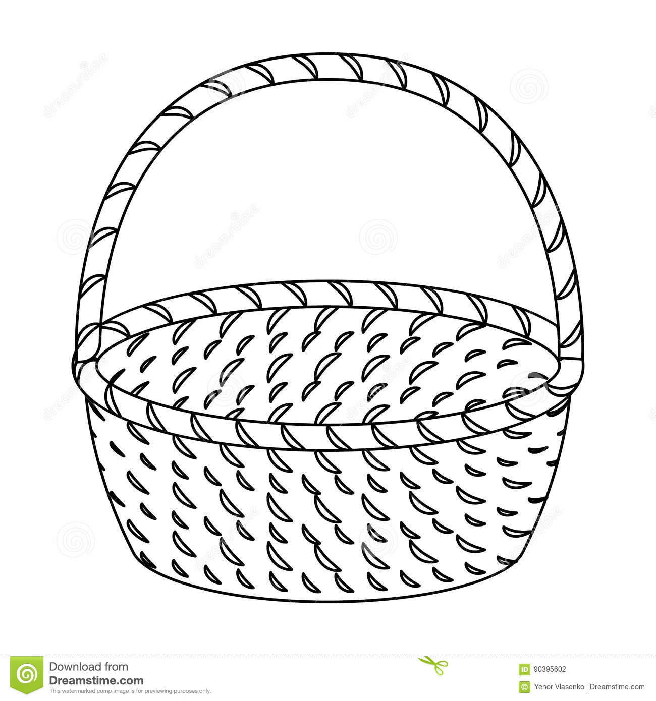 Wicker Basket Made Of Twigs Easter Single Icon In Outline Style Vector Symbol Stock