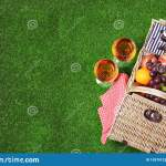 Wicker Picnic Basket With Different Products On Green Grass Space For Text Stock Image Image Of Drink Hamper 153701223