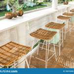 Wicker Rattan Chairs On Bar Counter Trendy Furniture Design Summer Cafe Stock Photo Image Of Restaurant Building 192415458