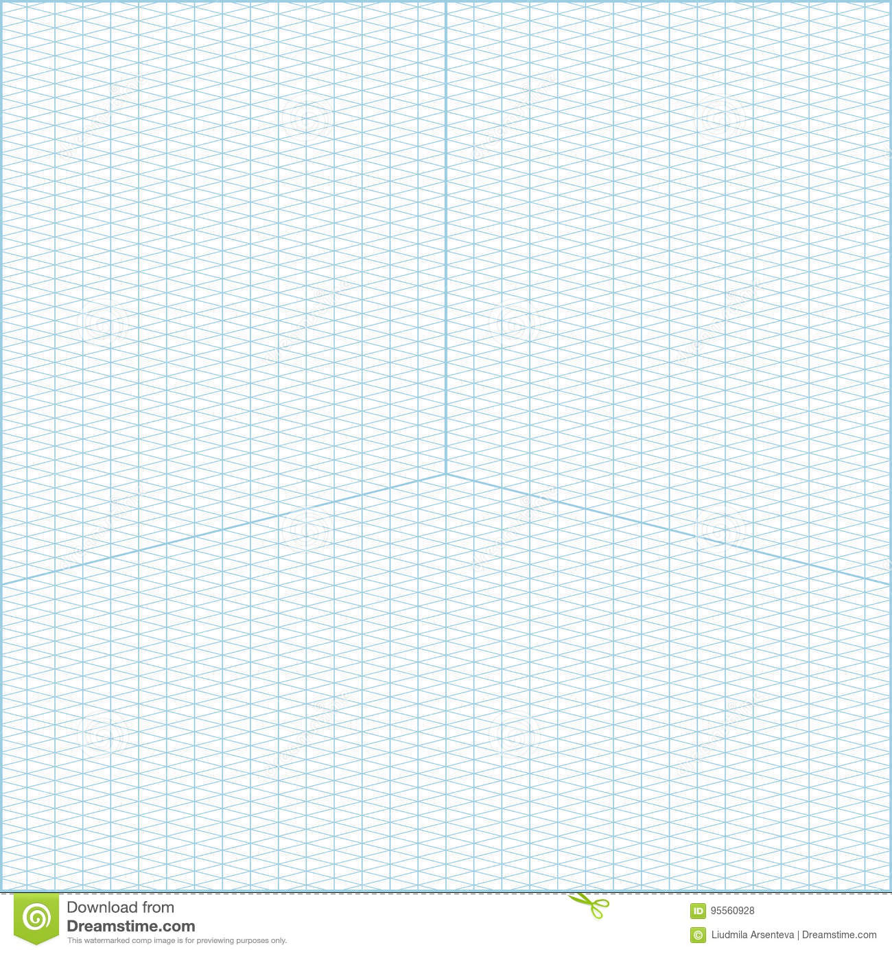Wide Angle Isometric Grid Graph Paper Background Stock