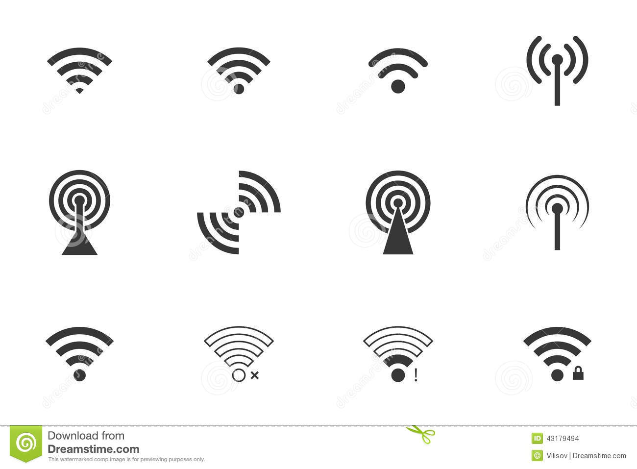 Wifi Symboler Vektor Illustrationer Illustration Av