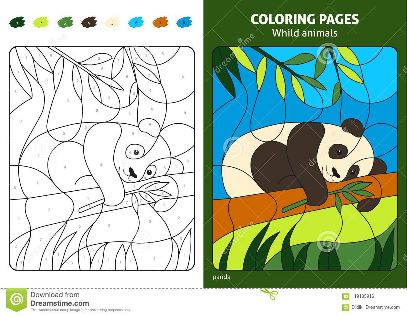 Wild Animals Coloring Page For Kids Panda Bear Stock