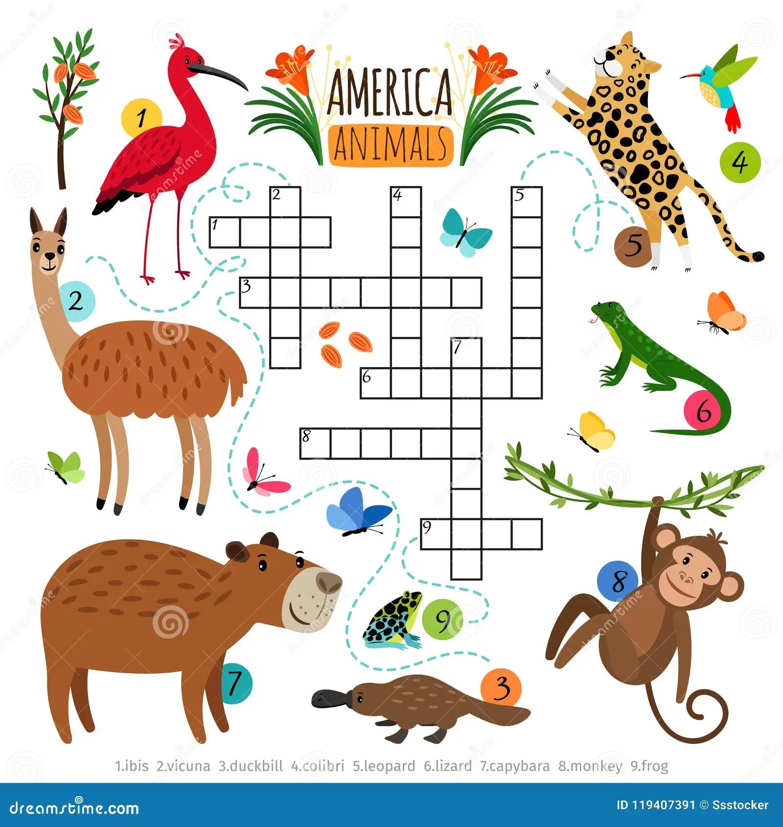 Wild Animals Crossword Puzzle Stock Vector