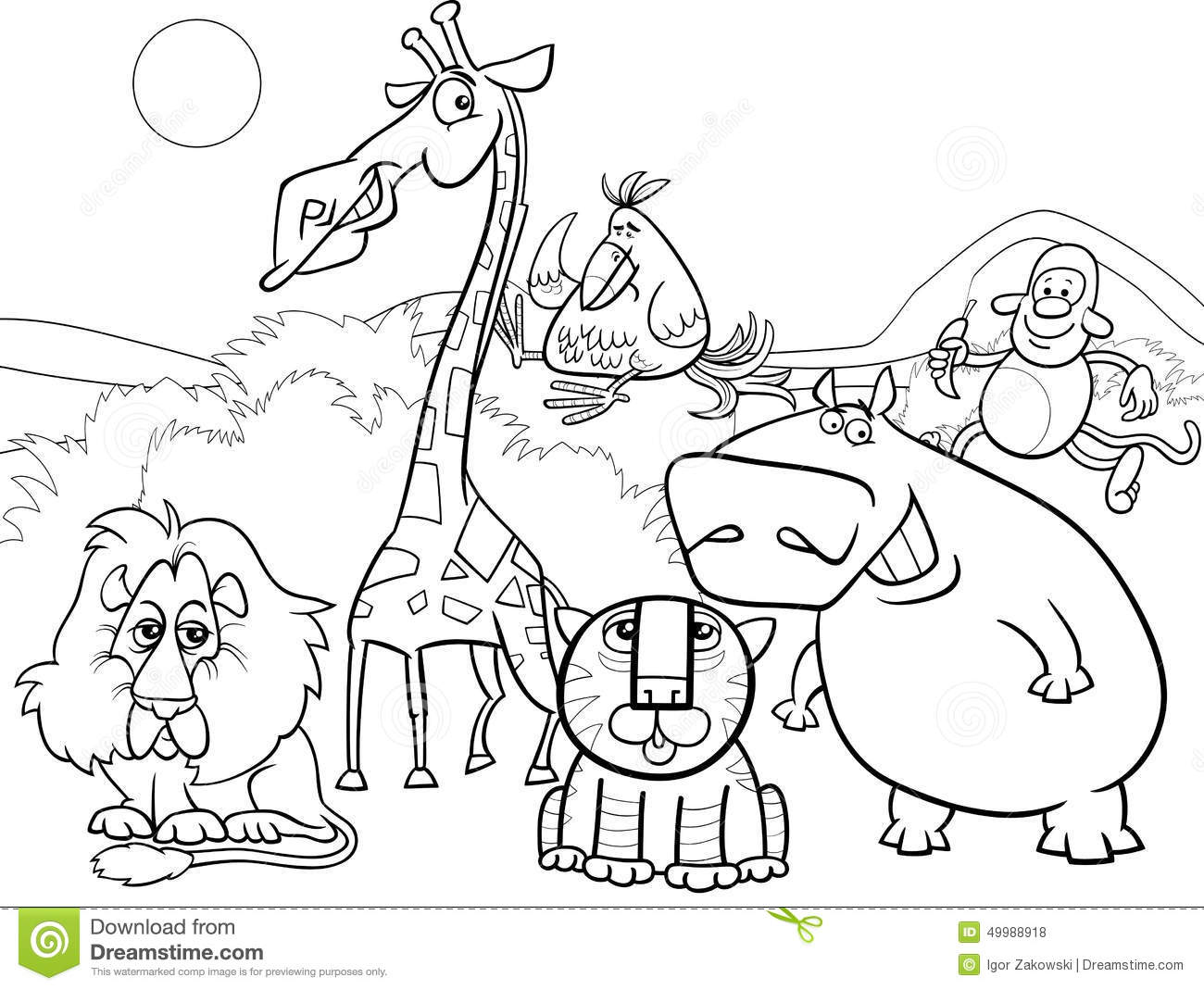 Wild Animals Group Coloring Page Stock Vector