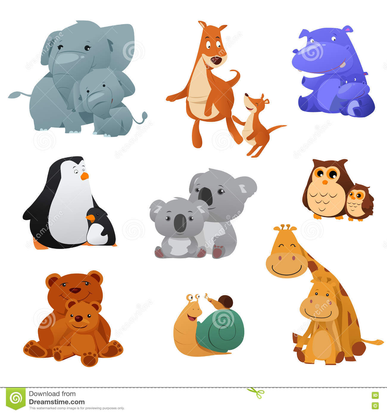 Wild Animals And Their Young Baby Stock Vector