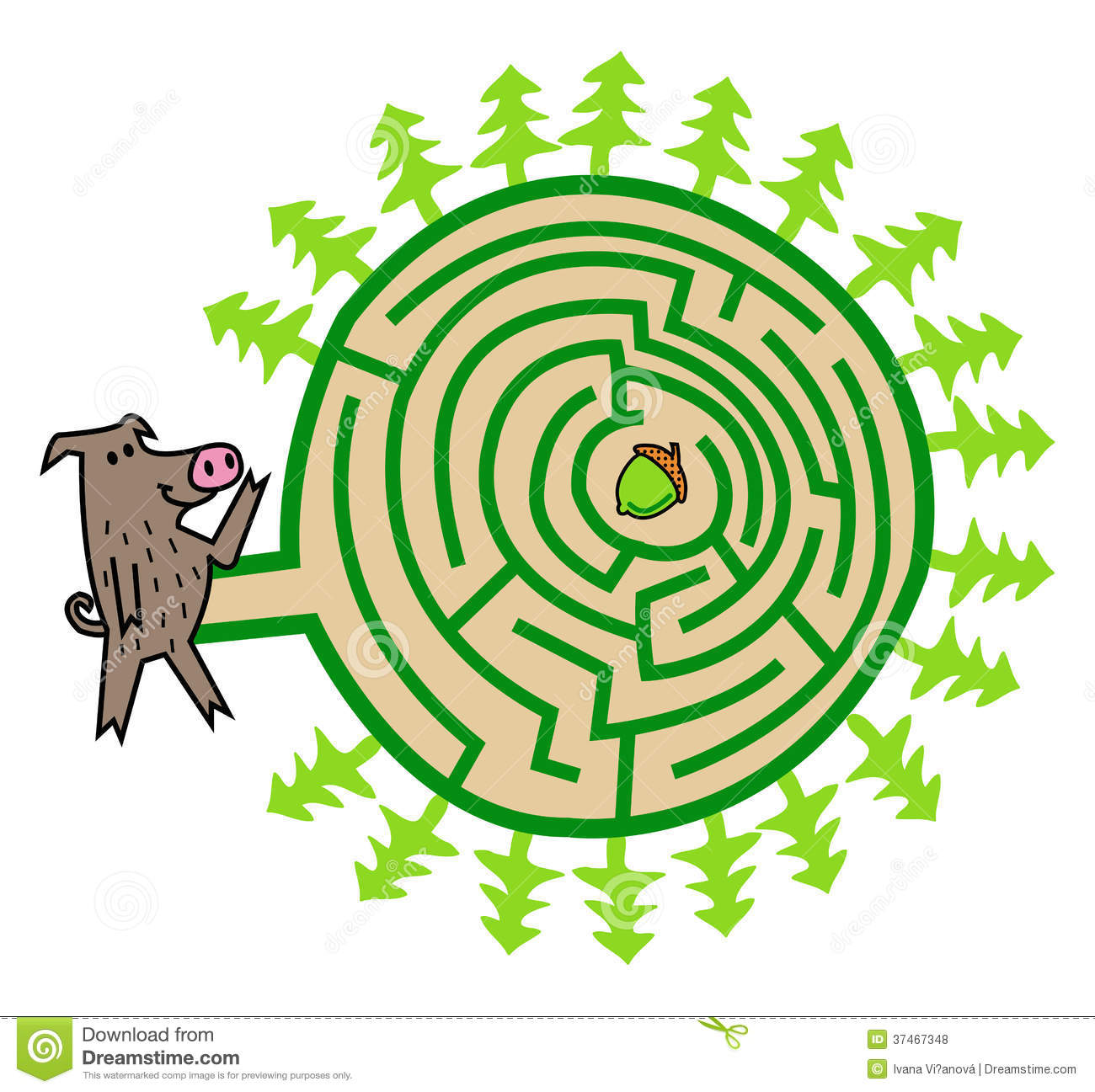 Wild Boar And Acorn Maze Game Royalty Free Stock Photos