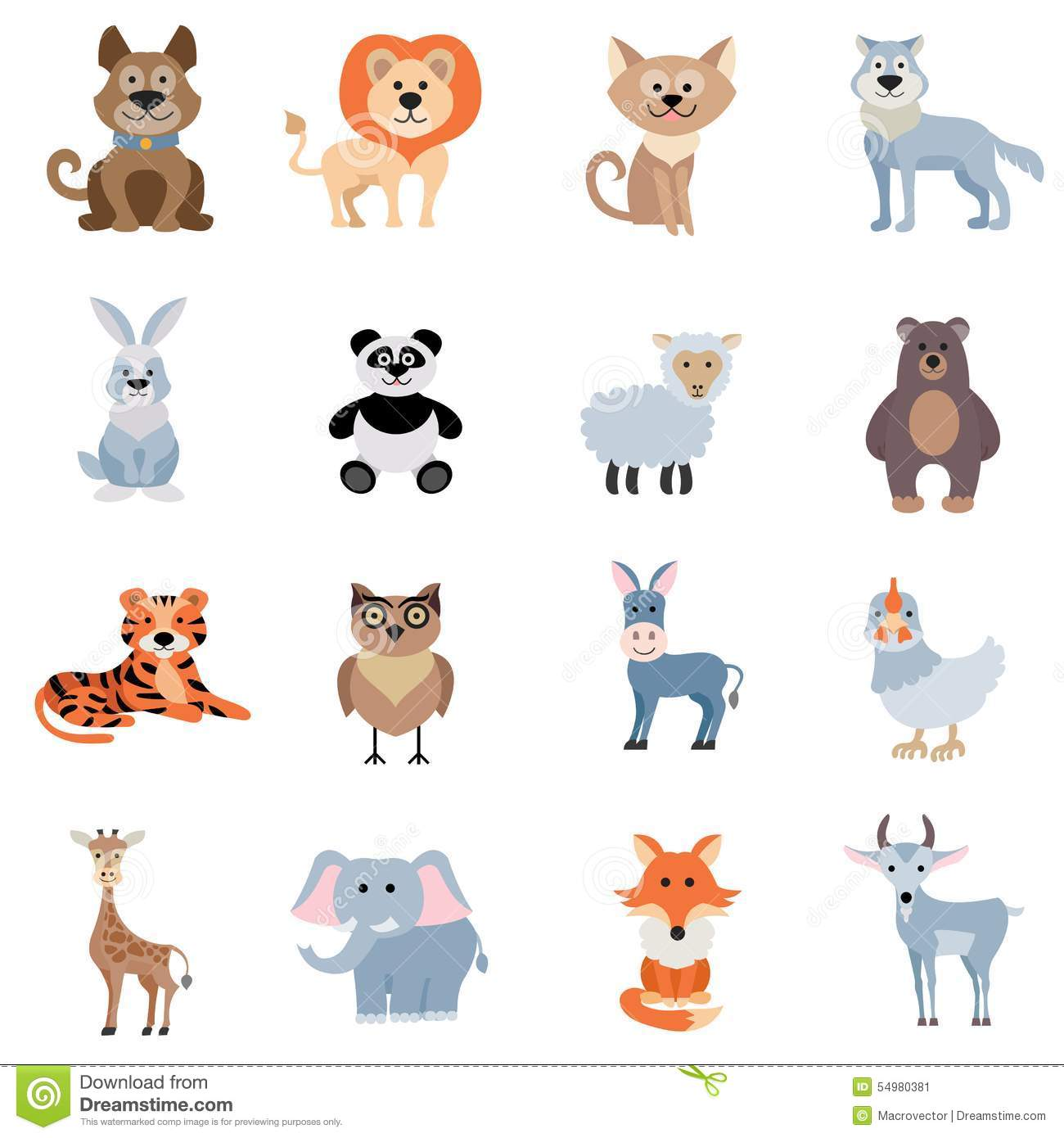 Wild And Home Animals Set Stock Vector Illustration Of