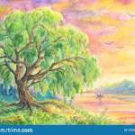 Willow Tree Near Water Landscape Painting Stock Illustration Illustration Of Light Lonely 137298391