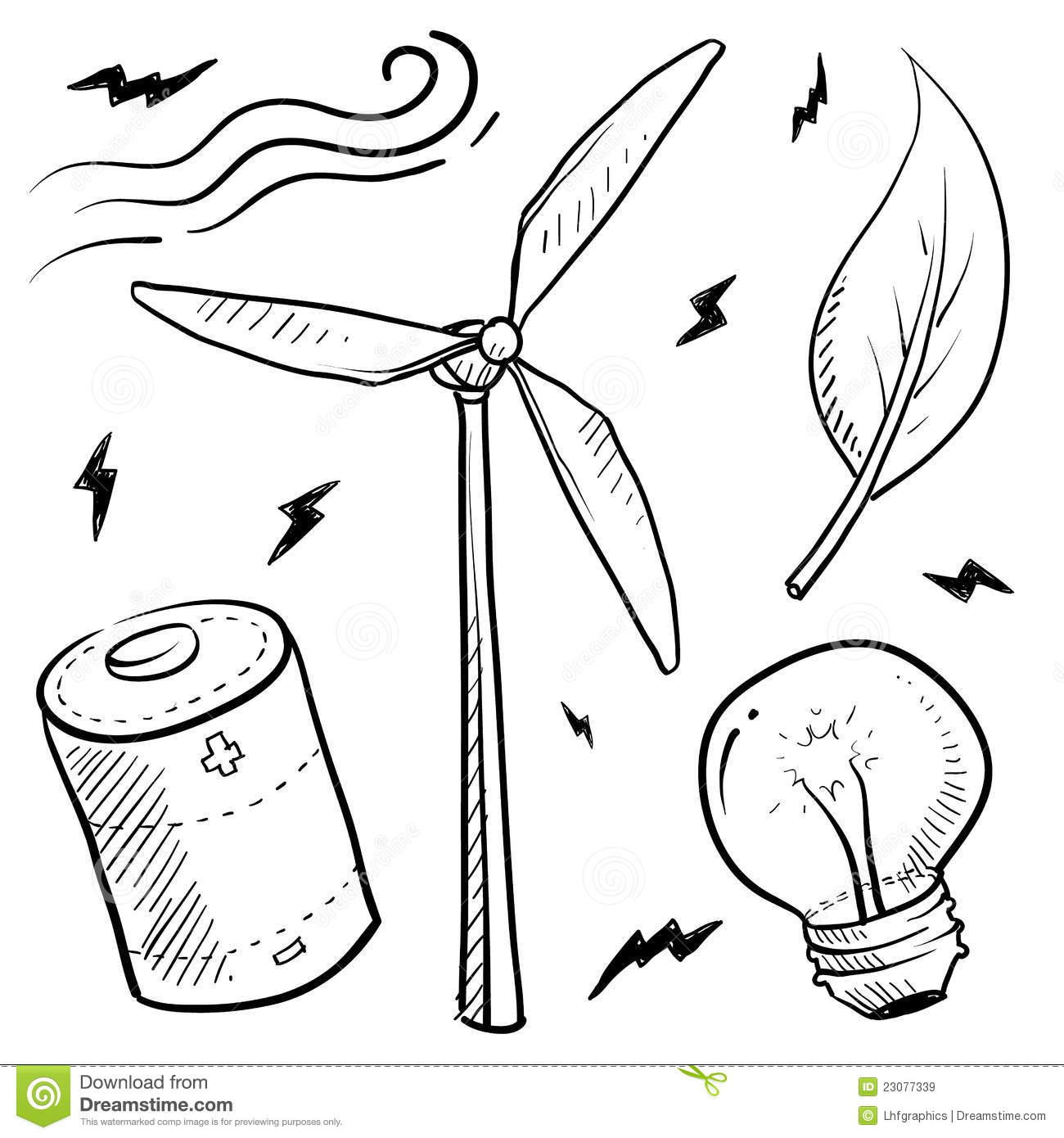 Wind Energy Objects Sketch Royalty Free Stock Images