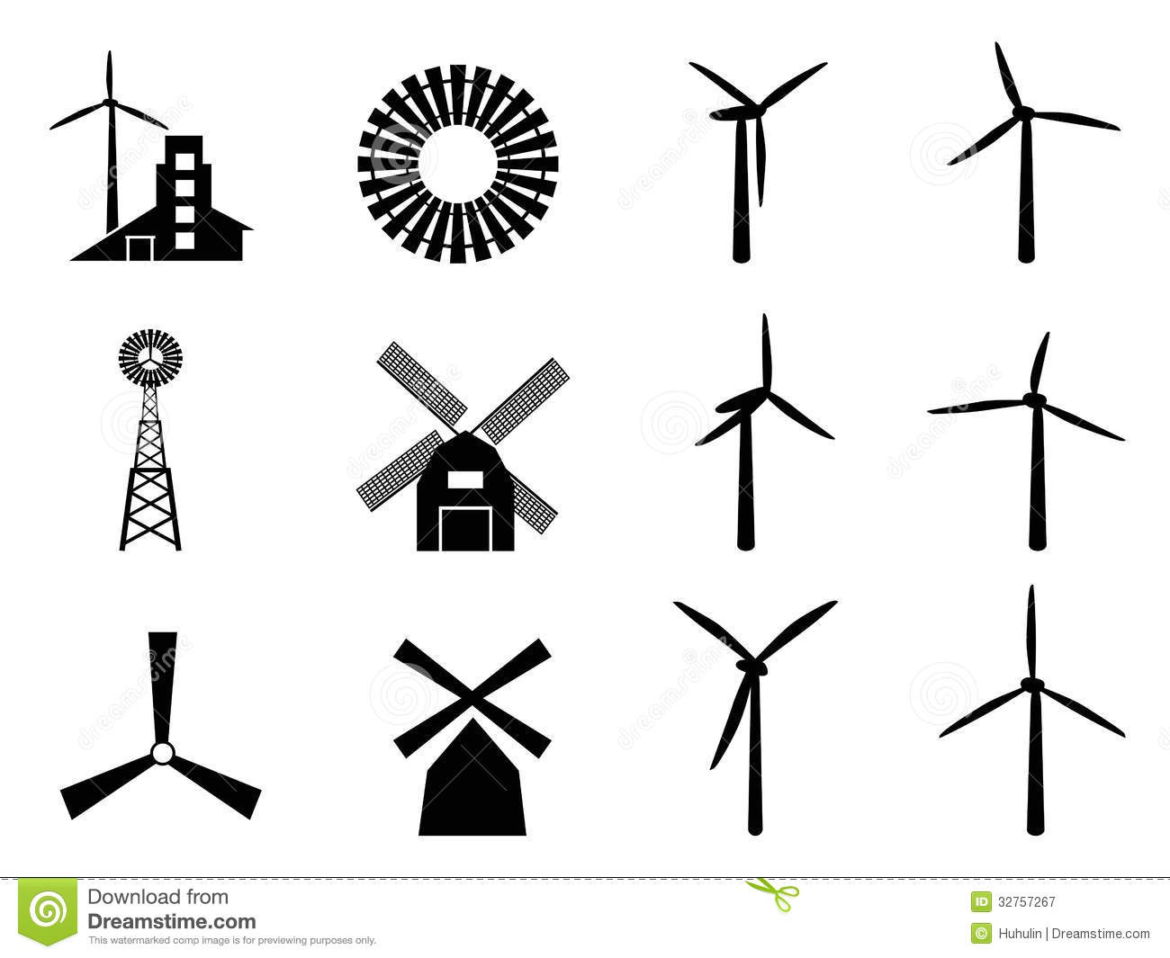 Windmill Icons Stock Vector Illustration Of Agriculture