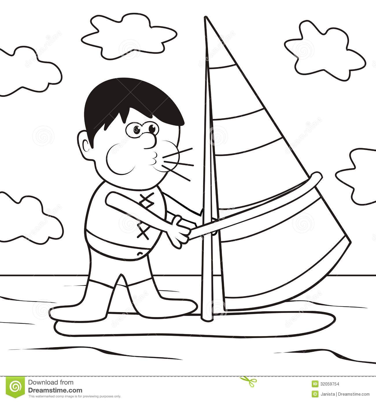Windsurfing Coloring Book Stock Illustration Image Of
