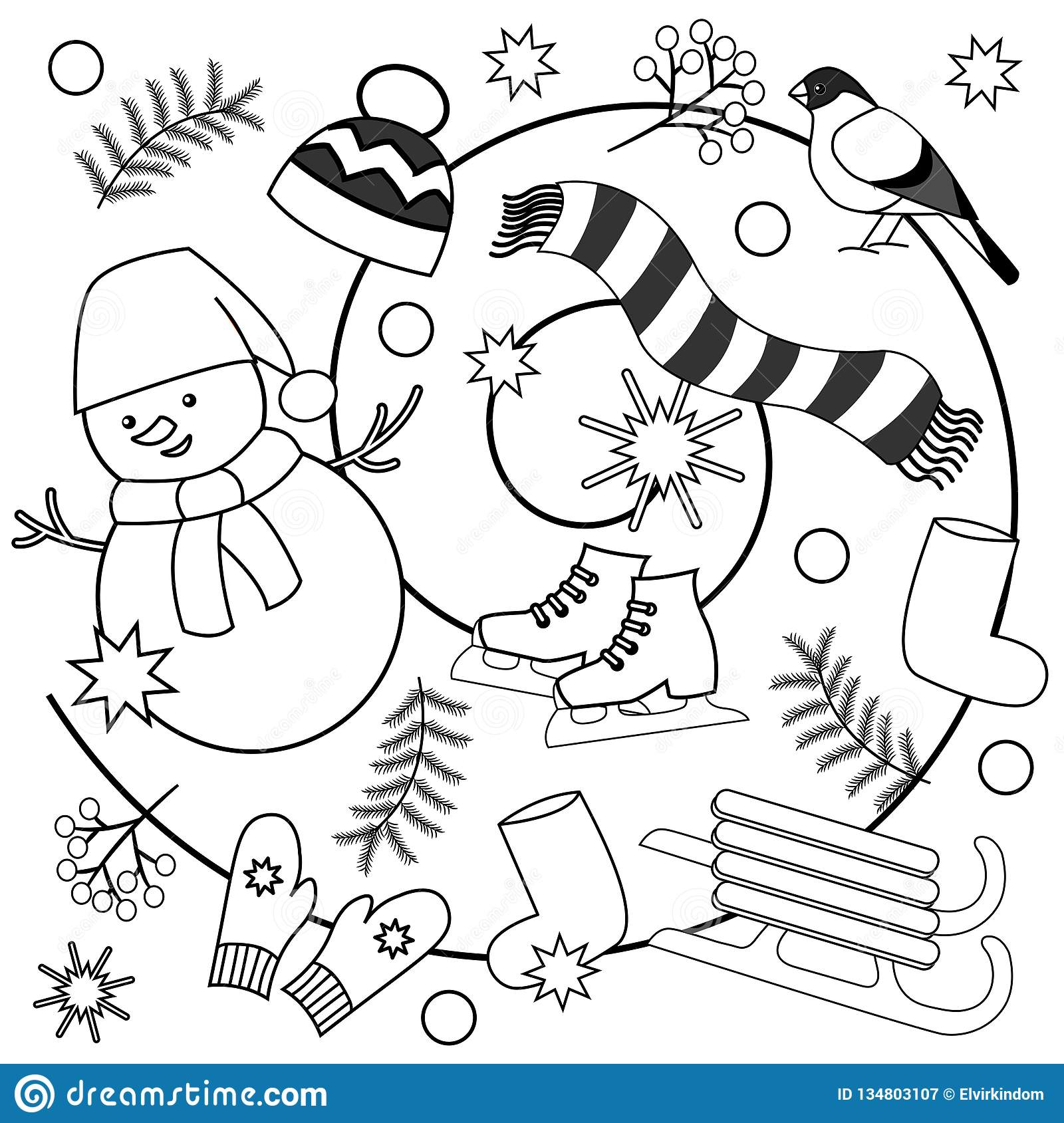 Winter Coloring Pages For Kids And Adults Stock