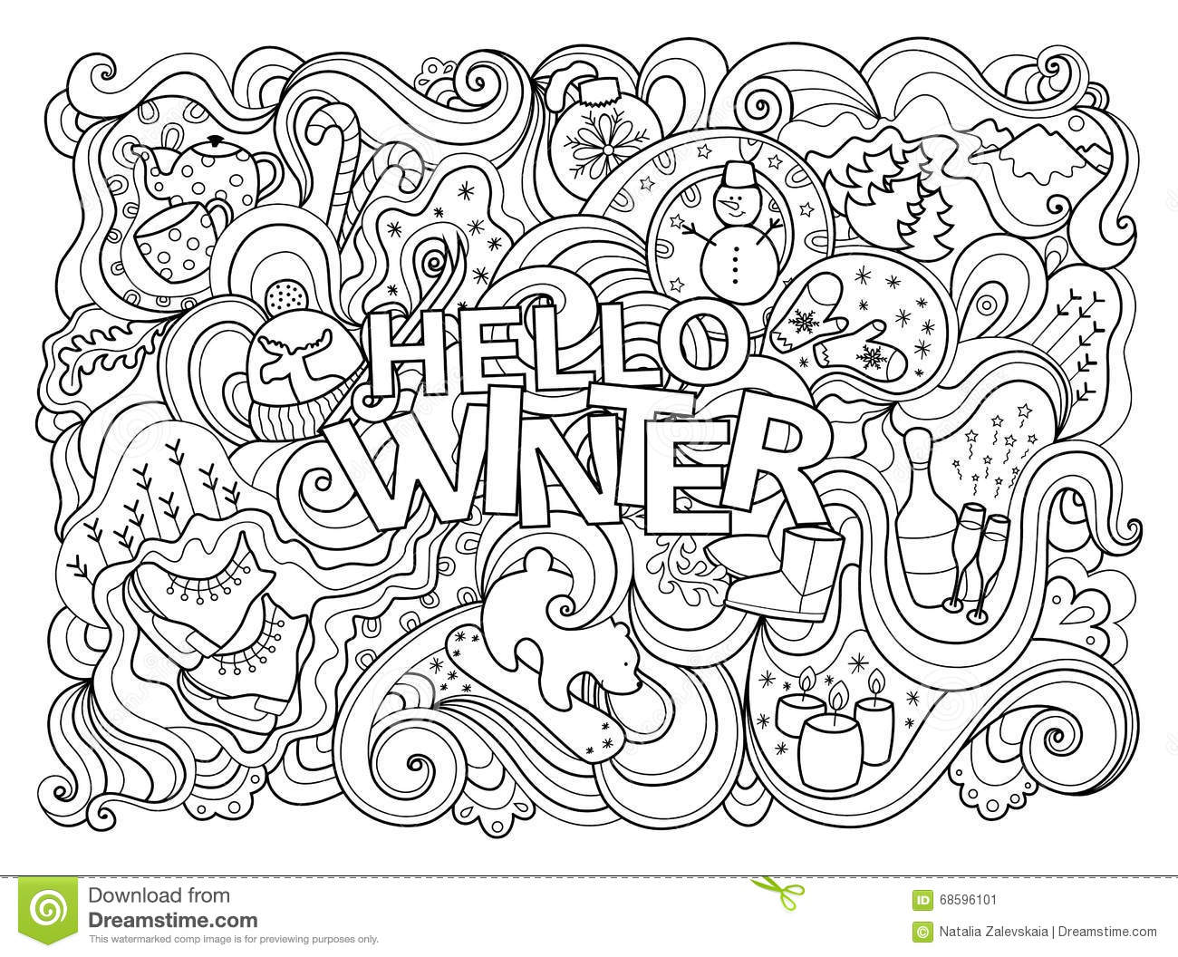 Winter Coloring Page Stock Vector Illustration Of Black
